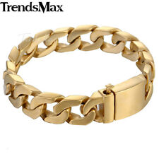 Mens 316L Stainless Steel Gold Plated Cut Curb Cuban Link Chain Bracelet 13mm