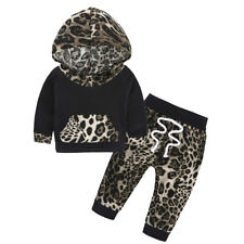Toddler Baby Girls Leopard Hoodie Tops Pants Home Outfits Set Clothes 2Pcs Set