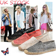 UK Lady Girl Espadrilles Mesh Lace Pumps Slip On Flats Hollow Cut Out Shoes Size