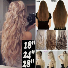 "Real Classy Clip In Hair Extensions Long Straight Wavy 17-30"" One Piece New TM8"