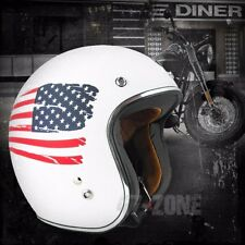 Torc Route 66 T50 Flat White Blue Red US Flag 3/4 Open Face Motorcycle Helmet