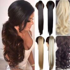 "Premium Long Drawstring Ponytail Clip in Hair Extensions 17-27"" For Human LA5"
