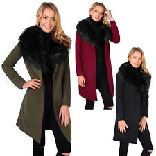 Womens Faux Fur Collar Long One Button Woollen Winter Coat Warm Jacket Overcoat
