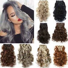 100% Real Thick Clip In Hair Extension Long Curly Full Head Hair Extentions XY17