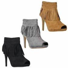 Womens Open Peep Toe Suede Tassel High Heel Ankle Boots Booties Shoes 3-8
