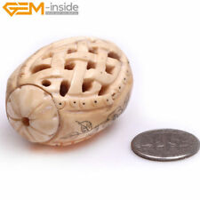 Hollow Lantern Shape Carved Bone Loose Beads For Jewelry Making Wholesale Pcs