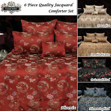 6 Pce Oriental QUEEN Comforter + 2 Std Pillowcases + 2 Eurocases + Cushion