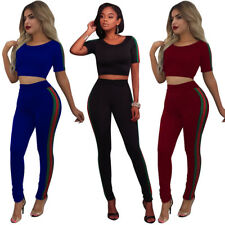 2Pcs Women Tracksuit Short Sleeve Sweatshirt + Pants Sets Sport Wear Casual Suit