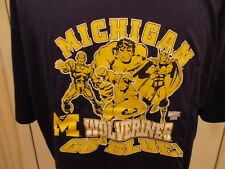 New Adult Sizes Michigan Wolverines with Marvel Characters Licensed NCAA Shirt