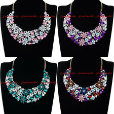 Fashion Gold Chain Acrylic Crystal Collar Choker Statement Pendant Bib Necklace