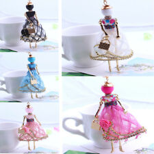 Fashion lovely Girls Doll Full Rhinestones Pendant Necklaces Long Sweater Chain