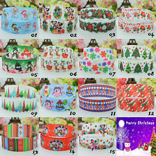 "5 Yds Printed CHRISTMAS Grosgrain Ribbon 22mm (7/8"") Hair Bows Cake Party Craft"