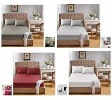 1000TC Egyptian Pure Cotton 3 Piece Bed Fitted Sheet+Pillowcase Set bedding