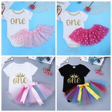 2PCS New Baby Girl Letter ONE First Birthday Romper Bodysuit  Tutu Skirt Outfit
