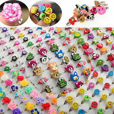 10/100pcs Wholesale Lots of Bulk Mixed Polymer Clay Children Kids Finger Rings