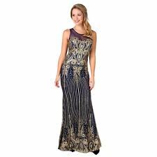Womens Ladies Hollywood Formal Glitter Prom Maxi Dress Ball Gown Evening Party