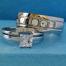 Sterling Silver Princess Cut CZ Engagement Wedding Ring Set Stainless Steel Band