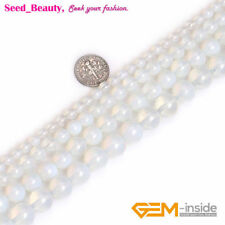 """Round Stone Beads White Opalite Loose Beads For Jewelry Making Strands 15"""""""
