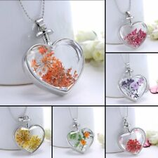 Nature Dried Flower Heart Shape Glass Locket Chain Pendant Necklace Womens Gift