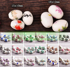 10pcs 15/18mm Oval Charms Flower Patterns Ceramic Porcelain Loose Spacer Beads