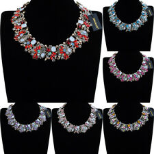 Vintage Gold Chain Rhinestone Glass Resin Choker Chunky Statement Bib Necklace