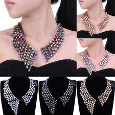 Fashion Copper Chain Acrylic Crystal Charm Collar Statement Pendant Bib Necklace