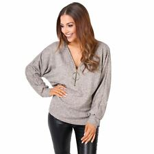 Womens Baggy Oversized Soft Knit Batwing Sleeve Long V Neck Jumper Sweater Top