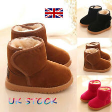 UK Boys Ankle Boots Girls Winter Warm Fur Lined Thick Snow Boots Shoes Size Flat