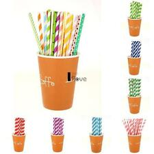 25pcs Biodegradable Paper Drinking Straws Striped Birthday Party Colorful FV2