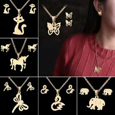 Fashion Stainless Steel Women Animal Pendant Necklace Chain Earrings Jewelry Set
