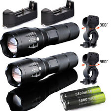 Ultrafire Tactical 50000LM Zoomable T6 LED Flashlights Torch+18650+Charger+Clip