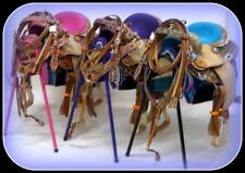 """10"""" Show Western Barrel Saddle Full OUTFIT 6pc BLUE PURPLE PINK Filigree GIFT Pk"""