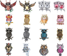 Vintage Clear Crystal Rhinestone Hooting Tree Owl Style Silver Plated Brooch Pin