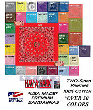 3pc USA MADE HAVAHANK PAISLEY BANDANA 2-Sided Cotton Head Neck Wrap Scarf Hanky