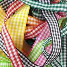 15 COLOUR 5 WIDTHS 5 10 15 25 40mm Berisfords Check Gingham Ribbon Buy 1 2 4m