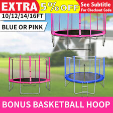 10/12/14/16FT Junior Kids Round Outdoor Trampoline PadCover Safety Net Blue Pink