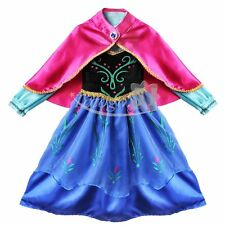 Christmas Kids Girls Princess Long Dress and Cape Costume Cosplay Dress Size 2-8