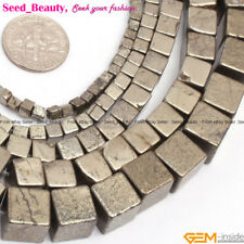 Natural Stone Silver Gray Pyrite Gemstone Beads For Jewelry Making 15''