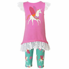 AnnLoren Girls Boutique Pink Unicorn Capri Outfit sz 12/18 mo-11/12 yrs