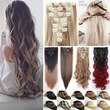 Real Full Head Clip In Hair Extensions 8Pcs 18Clips On Hair Piece New Thick Tape