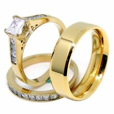 Couples Ring Set 14K Gold Plated 5mm Princess CZ Wedding Ring Mens Gold Plated F