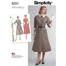 SIMPLICITY SEWING PATTERN MISSES 1950S VINTAGE ONE-PIECE DRESS SIZE 6 - 24 8251