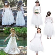 White Ivory Floral Lace Long Flower Kids Girl Dress Birthday Wedding Communion