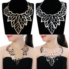 Fashion Jewelry Chain Hollow Leaves Style Collar Statement Pendant Bib Necklace
