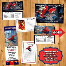 Spiderman Invitations or Thank You Cards or Candy Bar Wraps 10 ea Personalized