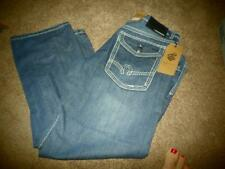 NEW MENS ROCAWEAR BLUE JEANS STRAIGHT FIT SIZE 38 30 32 BUTTON FLAP POCKET JEAN