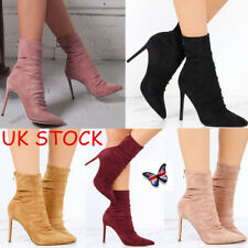 UK Womens Ladies Ankle Boots Party Stretch Stiletto High Heels Pointed Toe Shoes