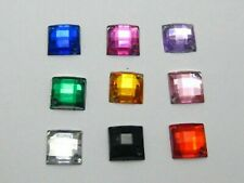 200 Flatback Acrylic Square Sewing Rhinestone Gem Button 10X10mm Sew on beads