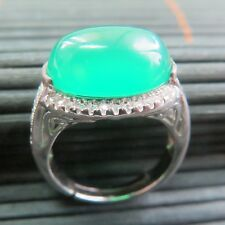 New Solid 925 Sterling Silver W/ 14mm H Natural Green Chalcedony Ring Size 6-8