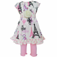 AnnLoren Poodle in Paris Dress & Legging Spring Girls Outfit sz 12/18 mo - 9/10